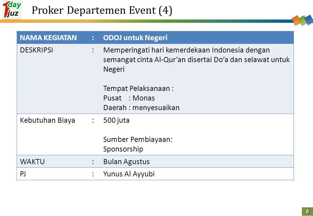 8 Proker Departemen Event (4) NAMA KEGIATAN:ODOJ untuk Negeri DESKRIPSI:Memperingati hari kemerdekaan Indonesia dengan semangat cinta Al-Qur'an disert