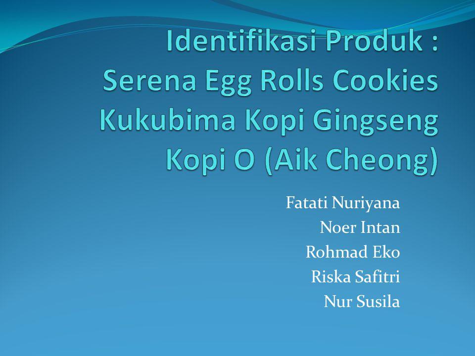 Jenis Produk dan Merk Serena Egg Rolls Merupakan produk makanan ringan Tekstur produk kering dan renyah Bentuk seperti seruling dan digulung tipis Produksi pertama pada tahun 1984 Cocok disajikan dengan kopi atau teh