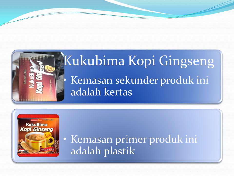 Kukubima Kopi Gingseng Kemasan sekunder produk ini adalah kertas Kemasan primer produk ini adalah plastik