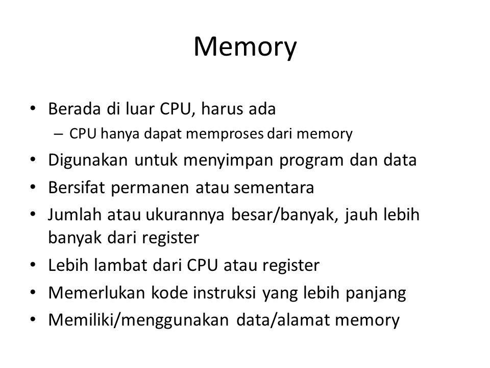 Memory Berada di luar CPU, harus ada – CPU hanya dapat memproses dari memory Digunakan untuk menyimpan program dan data Bersifat permanen atau sementa
