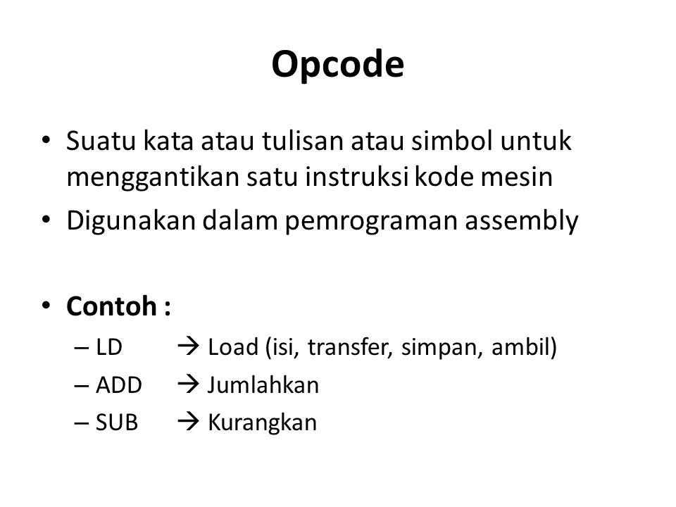Opcode Suatu kata atau tulisan atau simbol untuk menggantikan satu instruksi kode mesin Digunakan dalam pemrograman assembly Contoh : – LD  Load (isi