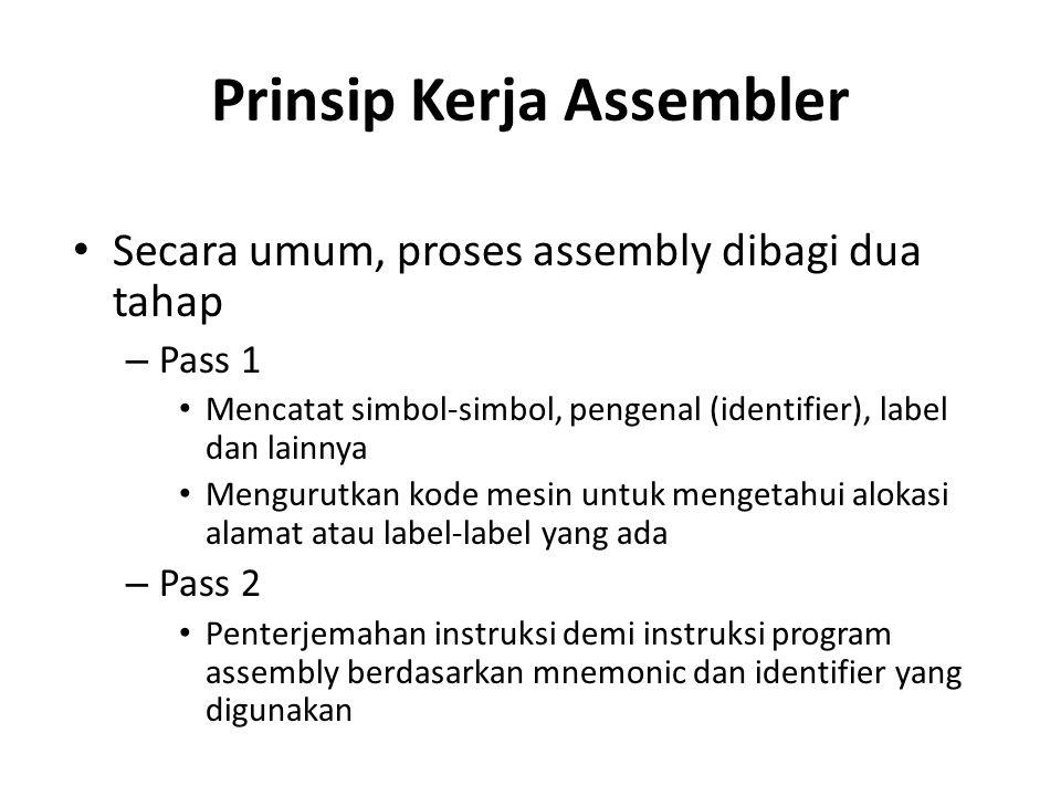 Prinsip Kerja Assembler Secara umum, proses assembly dibagi dua tahap – Pass 1 Mencatat simbol-simbol, pengenal (identifier), label dan lainnya Mengur
