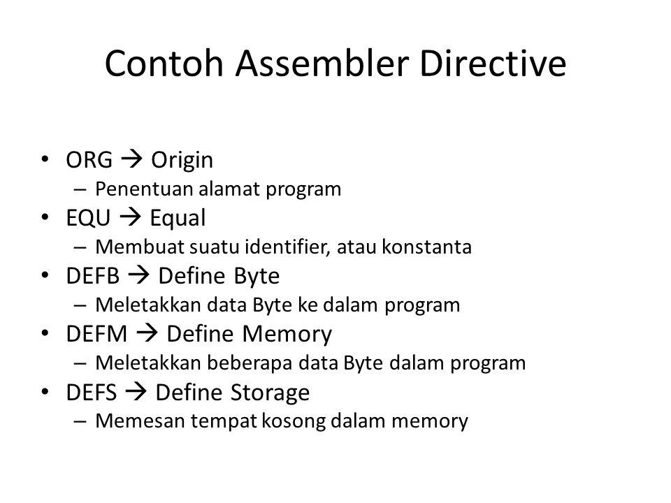 Contoh Assembler Directive ORG  Origin – Penentuan alamat program EQU  Equal – Membuat suatu identifier, atau konstanta DEFB  Define Byte – Meletak