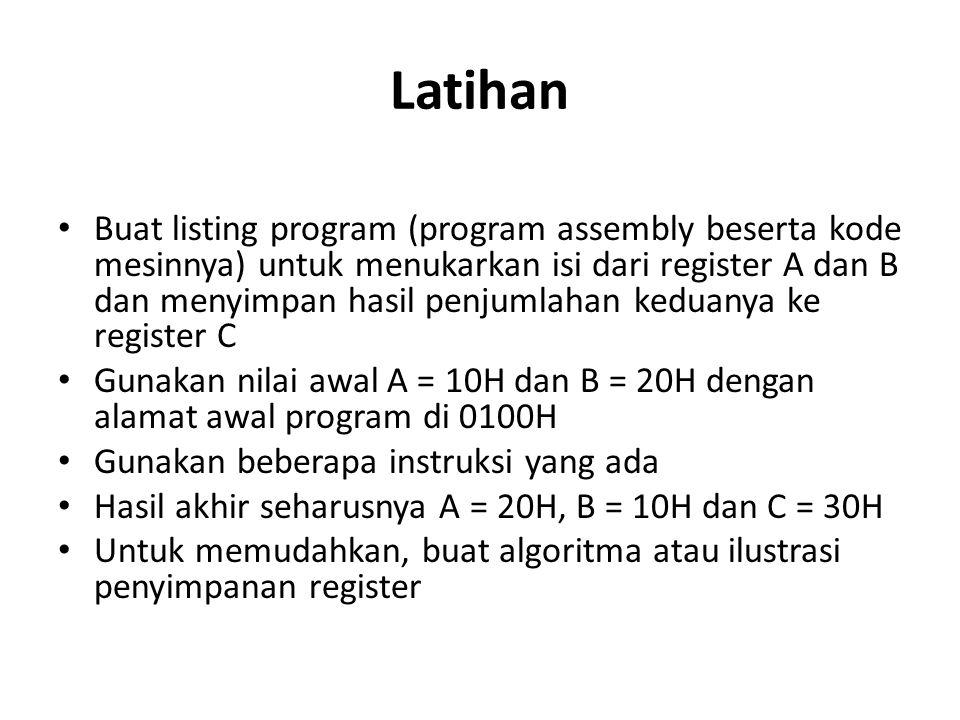 Latihan Buat listing program (program assembly beserta kode mesinnya) untuk menukarkan isi dari register A dan B dan menyimpan hasil penjumlahan kedua