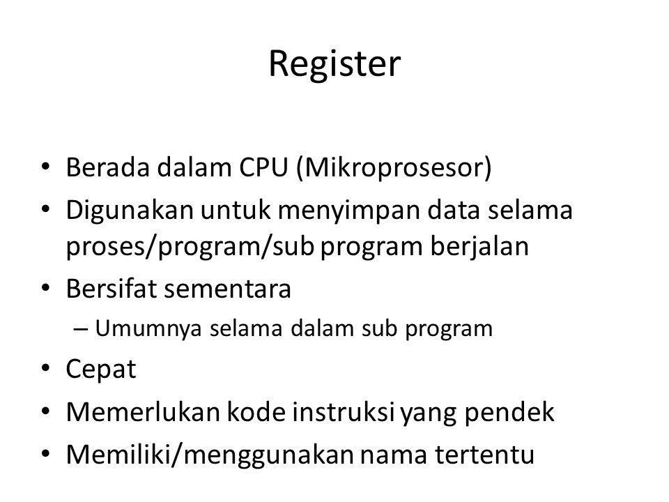 Register Berada dalam CPU (Mikroprosesor) Digunakan untuk menyimpan data selama proses/program/sub program berjalan Bersifat sementara – Umumnya selam