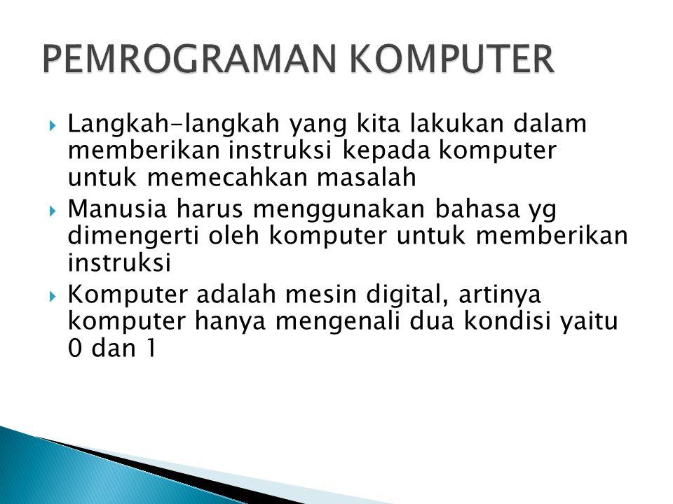  Langkah-langkah yang kita lakukan dalam memberikan instruksi kepada komputer untuk memecahkan masalah  Manusia harus menggunakan bahasa yg dimengerti oleh komputer untuk memberikan instruksi  Komputer adalah mesin digital, artinya komputer hanya mengenali dua kondisi yaitu 0 dan 1