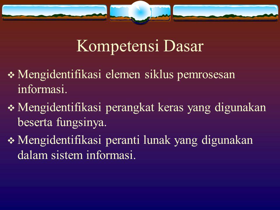 Kompetensi Dasar  Mengidentifikasi elemen siklus pemrosesan informasi.