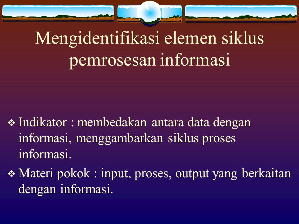 Kompetensi Dasar  Mengidentifikasi elemen siklus pemrosesan informasi.  Mengidentifikasi perangkat keras yang digunakan beserta fungsinya.  Mengide