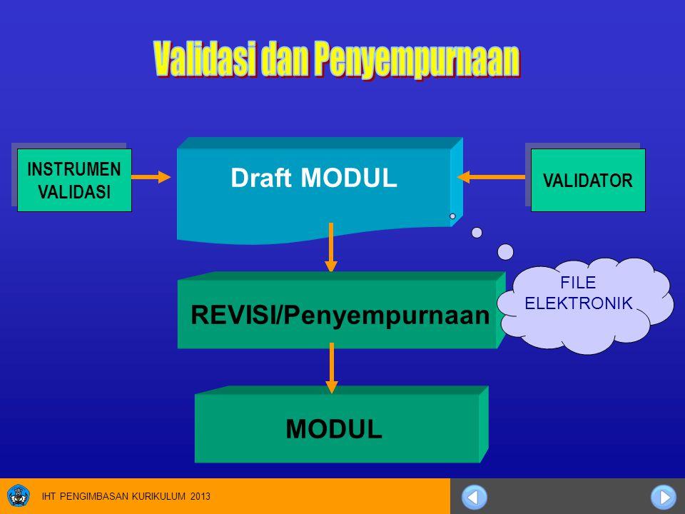 IHT PENGIMBASAN KURIKULUM 2013 Draft MODUL MODUL INSTRUMEN VALIDASI INSTRUMEN VALIDASI VALIDATOR REVISI/Penyempurnaan FILE ELEKTRONIK