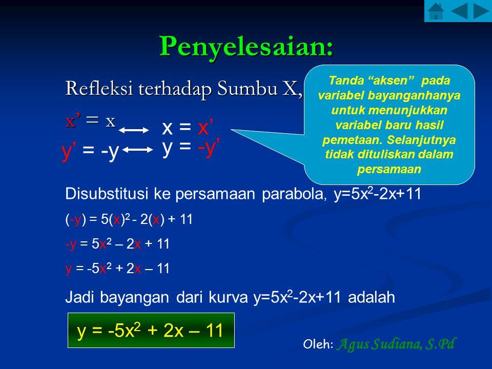 Penyelesaian: Refleksi terhadap Sumbu X, x' = x x = x' y' = -y y = -y' Disubstitusi ke persamaan parabola, y=5x 2 -2x+11 (-y) = 5(x) 2 - 2(x) + 11 -y