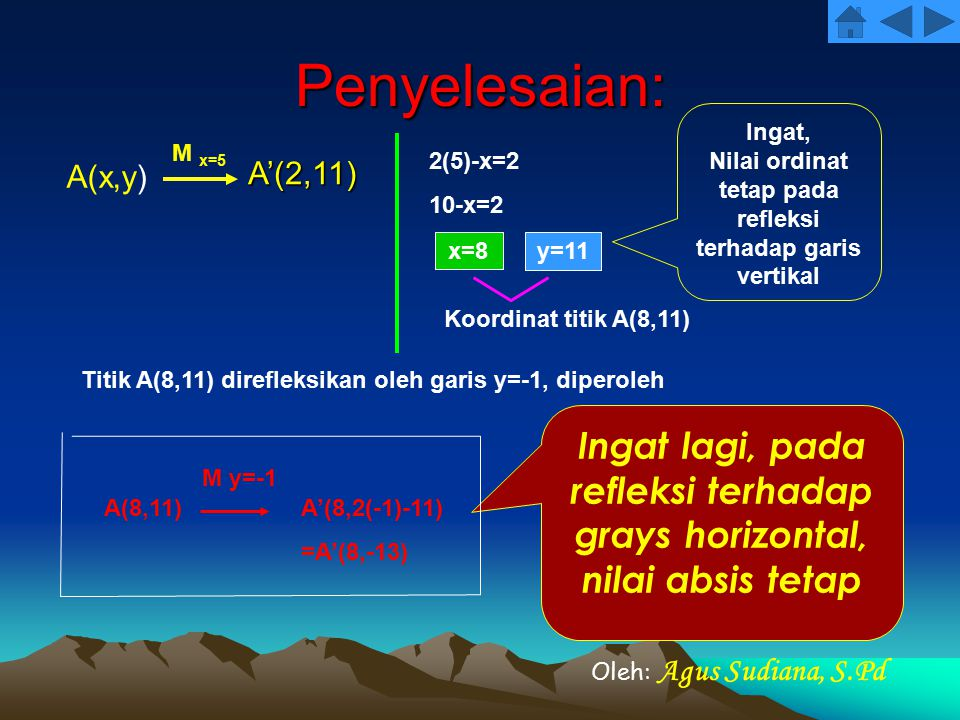 Penyelesaian: A(x,y) A'(2,11) M x=5 2(5)-x=2 10-x=2 x=8 y=11 Koordinat titik A(8,11) Titik A(8,11) direfleksikan oleh garis y=-1, diperoleh A(8,11)A'(