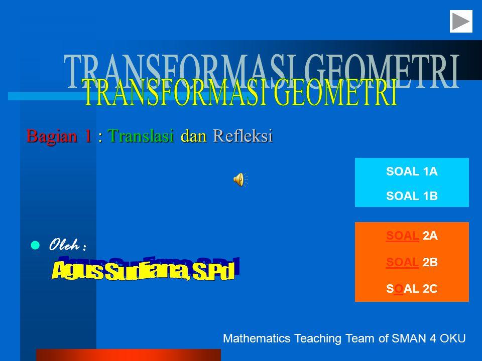 Bagian 1 : Translasi dan Refleksi Oleh : Mathematics Teaching Team of SMAN 4 OKU SOAL 1A SOAL 1B SOAL 2A SOAL 2B SOAL 2C