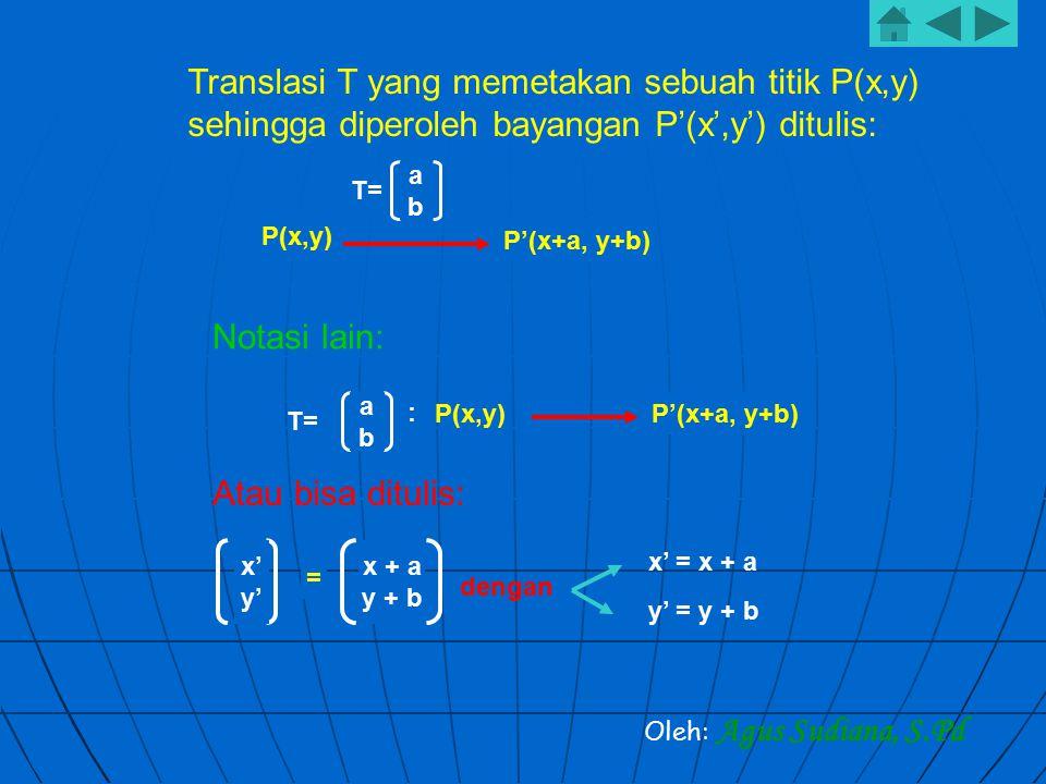 Translasi T yang memetakan sebuah titik P(x,y) sehingga diperoleh bayangan P'(x',y') ditulis: abab T= P(x,y) P'(x+a, y+b) Oleh: Agus Sudiana, S.Pd Not