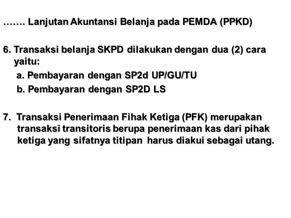 ……. Lanjutan Akuntansi Belanja pada PEMDA (PPKD) 6. Transaksi belanja SKPD dilakukan dengan dua (2) cara yaitu: a. Pembayaran dengan SP2d UP/GU/TU a.