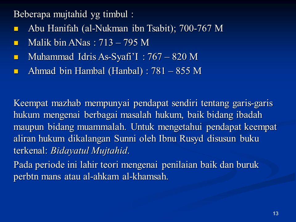 13 Beberapa mujtahid yg timbul : Abu Hanifah (al-Nukman ibn Tsabit); 700-767 M Abu Hanifah (al-Nukman ibn Tsabit); 700-767 M Malik bin ANas : 713 – 79