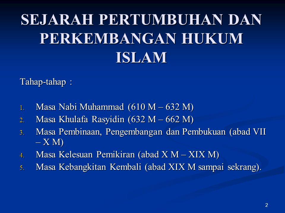 2 SEJARAH PERTUMBUHAN DAN PERKEMBANGAN HUKUM ISLAM Tahap-tahap : 1. Masa Nabi Muhammad (610 M – 632 M) 2. Masa Khulafa Rasyidin (632 M – 662 M) 3. Mas