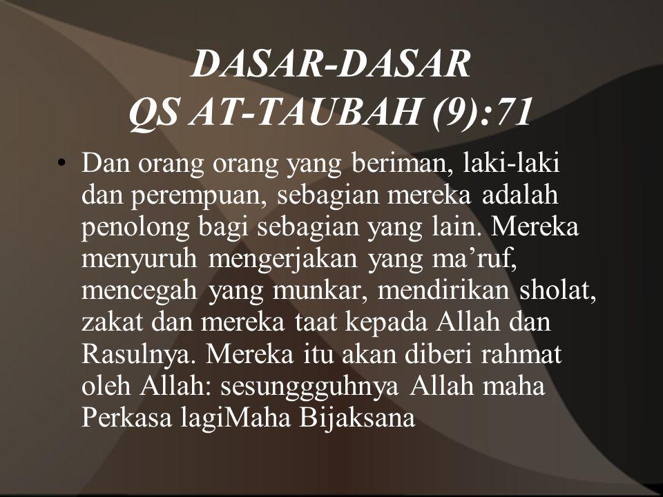 DASAR-DASAR QS AT-TAUBAH (9):71 Dan orang orang yang beriman, laki-laki dan perempuan, sebagian mereka adalah penolong bagi sebagian yang lain. Mereka