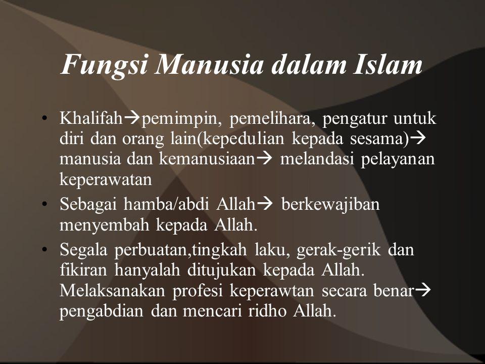 Fungsi Manusia dalam Islam Khalifah  pemimpin, pemelihara, pengatur untuk diri dan orang lain(kepedulian kepada sesama)  manusia dan kemanusiaan  m