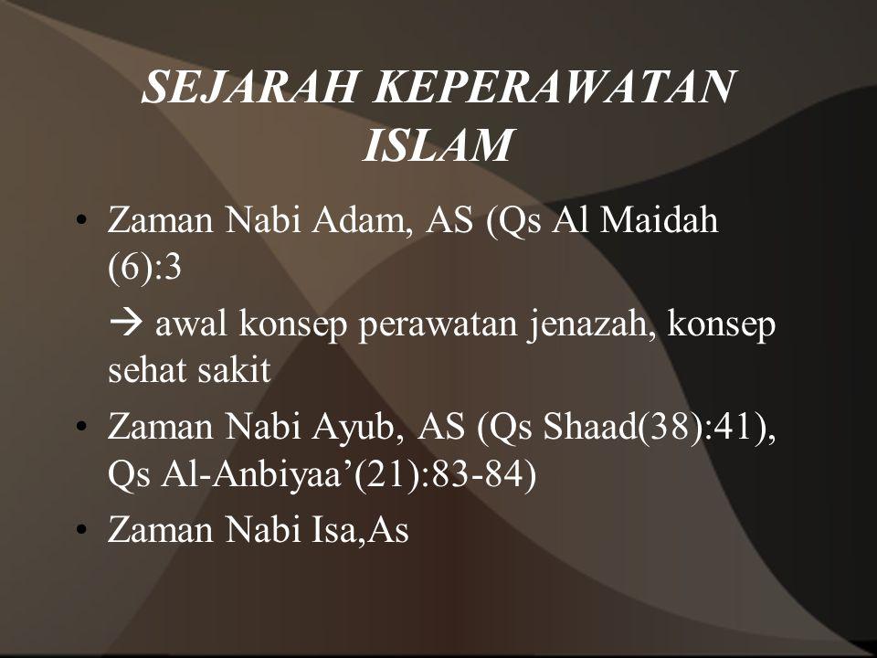 SEJARAH KEPERAWATAN ISLAM Zaman Nabi Adam, AS (Qs Al Maidah (6):3  awal konsep perawatan jenazah, konsep sehat sakit Zaman Nabi Ayub, AS (Qs Shaad(38