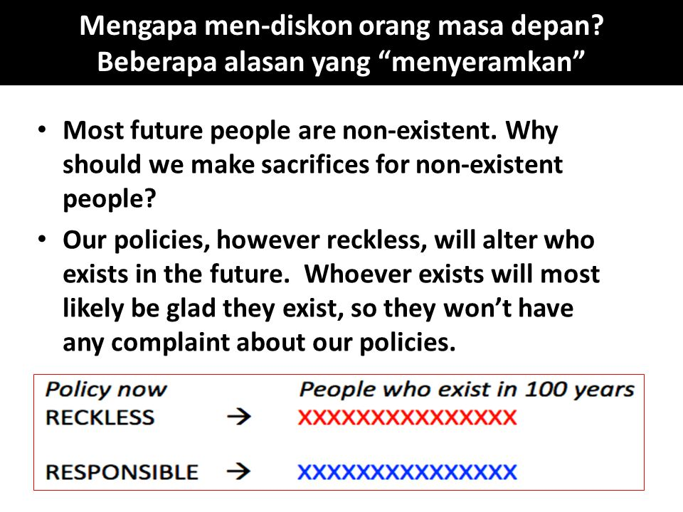 "Mengapa men-diskon orang masa depan? Beberapa alasan yang ""menyeramkan"" Most future people are non-existent. Why should we make sacrifices for non-exi"