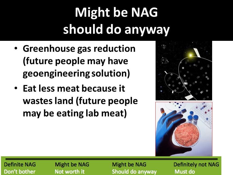 Might be NAG should do anyway Greenhouse gas reduction (future people may have geoengineering solution) Eat less meat because it wastes land (future people may be eating lab meat)