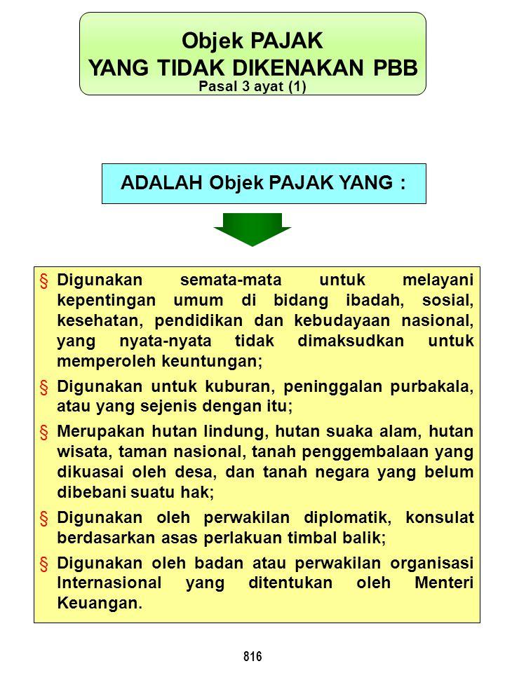 817 OBJEK PAJAK YANG DIGUNAKAN UNTUK PENYELENGGARAAN PEMERINTAHAN Pasal 3 Ayat (2) PENGENAAN PAJAKNYA DIATUR LEBIH LANJUT DENGAN PERATURAN PEMERINTAH