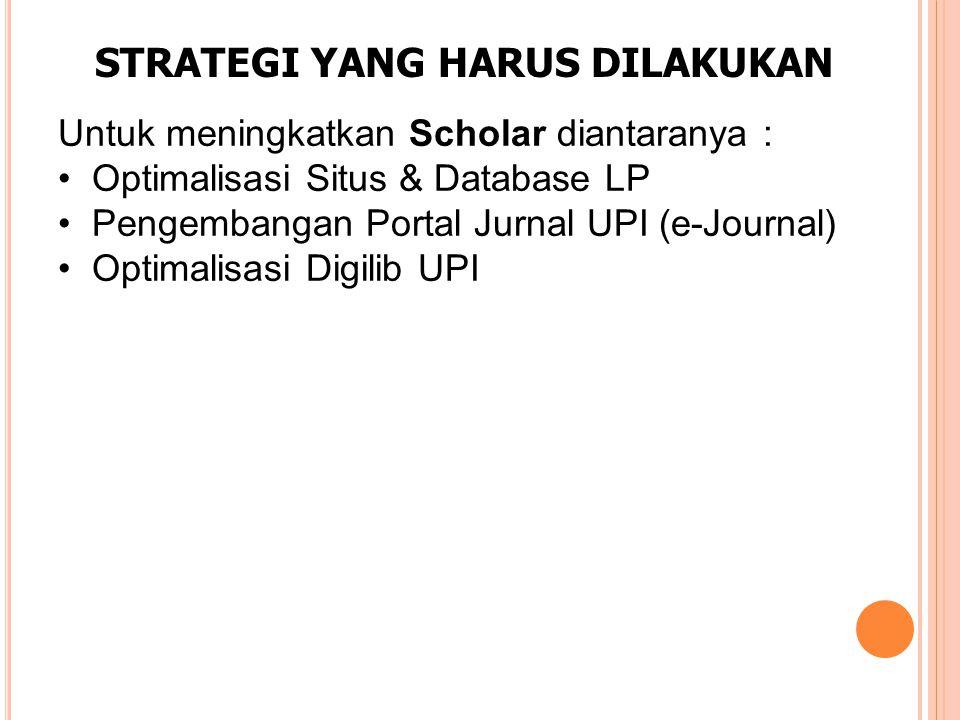 STRATEGI YANG HARUS DILAKUKAN Untuk meningkatkan Scholar diantaranya : Optimalisasi Situs & Database LP Pengembangan Portal Jurnal UPI (e-Journal) Optimalisasi Digilib UPI