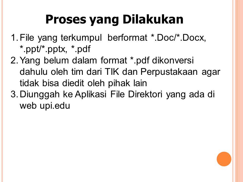 Proses yang Dilakukan 1.File yang terkumpul berformat *.Doc/*.Docx, *.ppt/*.pptx, *.pdf 2.Yang belum dalam format *.pdf dikonversi dahulu oleh tim dari TIK dan Perpustakaan agar tidak bisa diedit oleh pihak lain 3.Diunggah ke Aplikasi File Direktori yang ada di web upi.edu