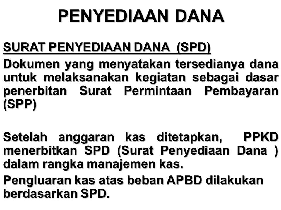 PENYEDIAAN DANA SURAT PENYEDIAAN DANA (SPD) Dokumen yang menyatakan tersedianya dana untuk melaksanakan kegiatan sebagai dasar penerbitan Surat Permin