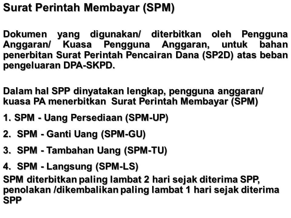 Surat Perintah Membayar (SPM) Dokumen yang digunakan/ diterbitkan oleh Pengguna Anggaran/ Kuasa Pengguna Anggaran, untuk bahan penerbitan Surat Perint