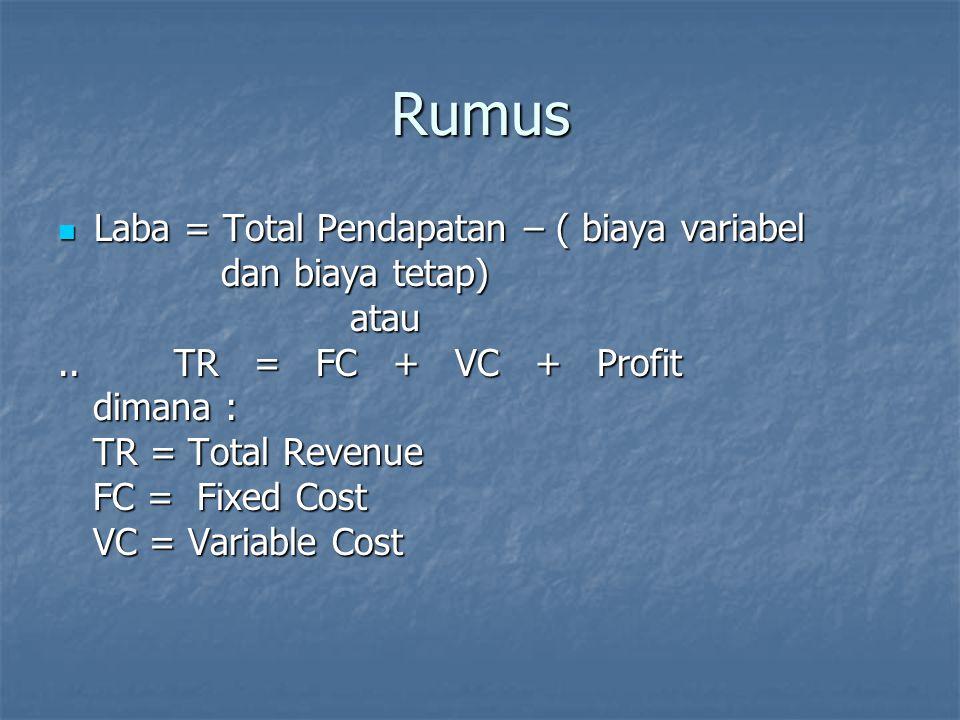Rumus Laba = Total Pendapatan – ( biaya variabel Laba = Total Pendapatan – ( biaya variabel dan biaya tetap) dan biaya tetap) atau atau.. TR = FC + VC