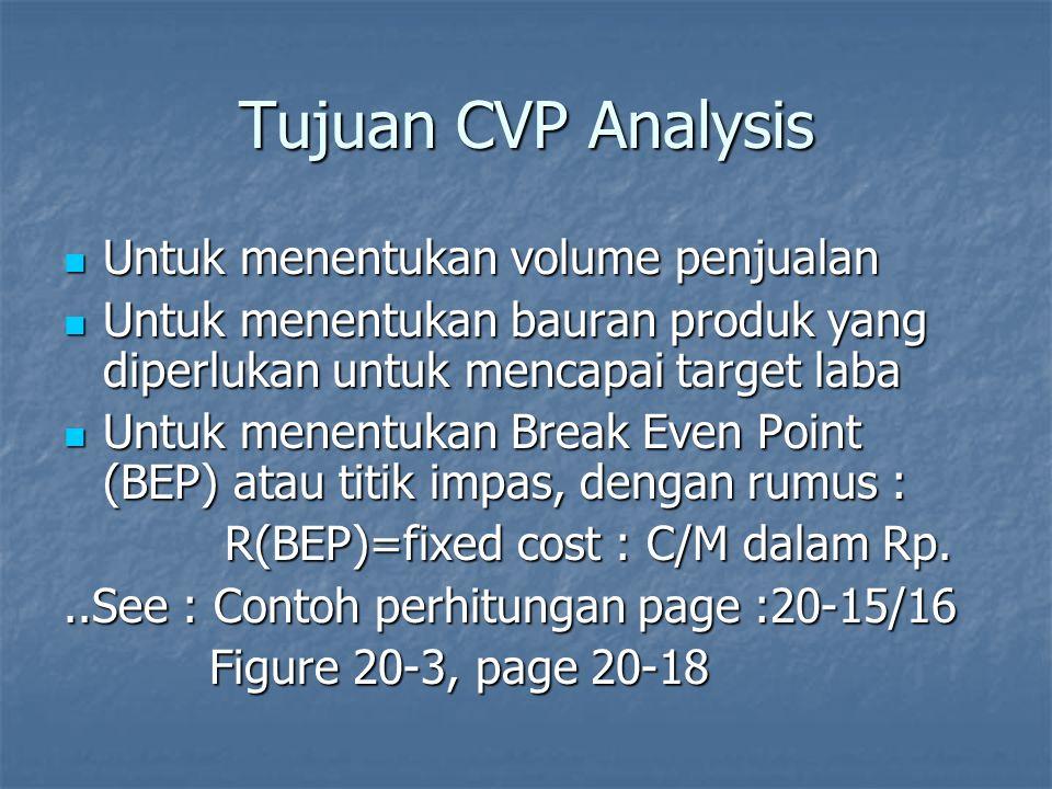Tujuan CVP Analysis Untuk menentukan volume penjualan Untuk menentukan volume penjualan Untuk menentukan bauran produk yang diperlukan untuk mencapai