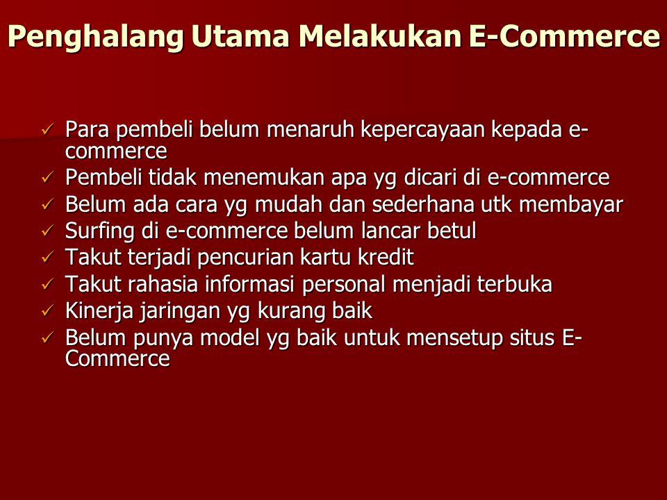 Penghalang Utama Melakukan E-Commerce Para pembeli belum menaruh kepercayaan kepada e- commerce Para pembeli belum menaruh kepercayaan kepada e- comme