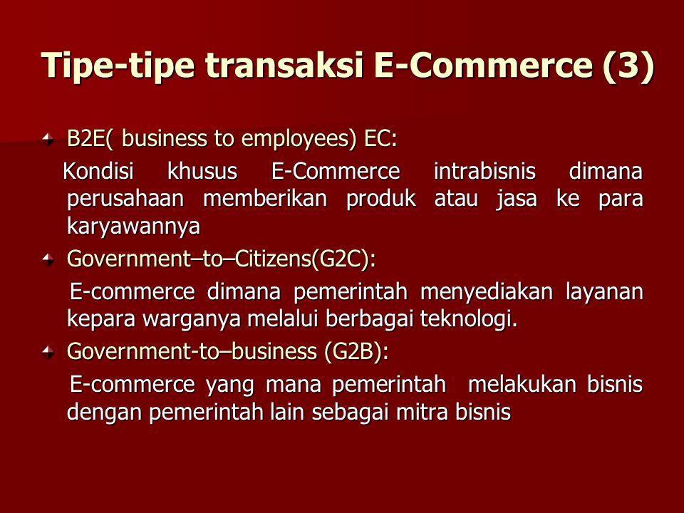B2E( business to employees) EC: Kondisi khusus E-Commerce intrabisnis dimana perusahaan memberikan produk atau jasa ke para karyawannya Kondisi khusus