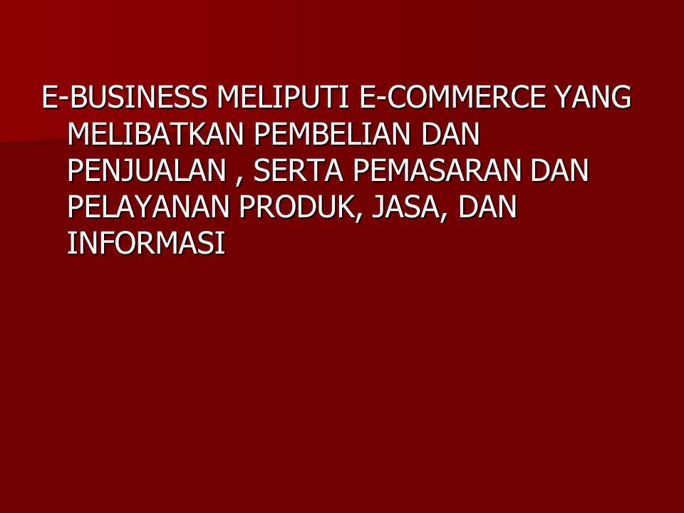 E-BUSINESS MELIPUTI E-COMMERCE YANG MELIBATKAN PEMBELIAN DAN PENJUALAN, SERTA PEMASARAN DAN PELAYANAN PRODUK, JASA, DAN INFORMASI