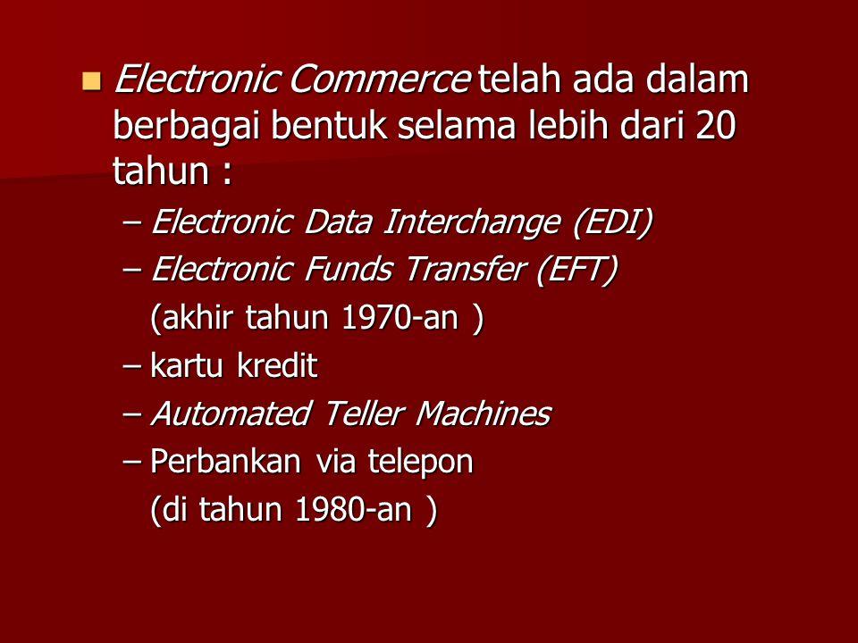 Tipe-tipe transaksi E-Commerce (2) Consumer-to-Consumer(C2C): E-commerce dimana seorang menjual produk atau jasa keorang lain E-commerce dimana seorang menjual produk atau jasa keorang lain Customer -to-Business (C2B): E-commerce dimana pelanggan memberitahukan kebutuh an atas suatu produk atau jasa tertentu E-commerce dimana pelanggan memberitahukan kebutuh an atas suatu produk atau jasa tertentu