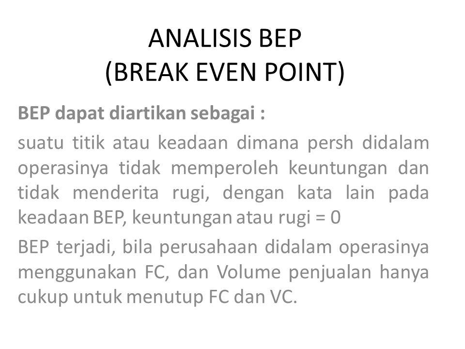Analisis BEP secara umum dapat memberikan : informasi kepada pimpinan, bagaimana pola hubungan antara volume penjualan, cost dan tingkat keuntungan yang akan diperoleh pada level penjualan tertentu.