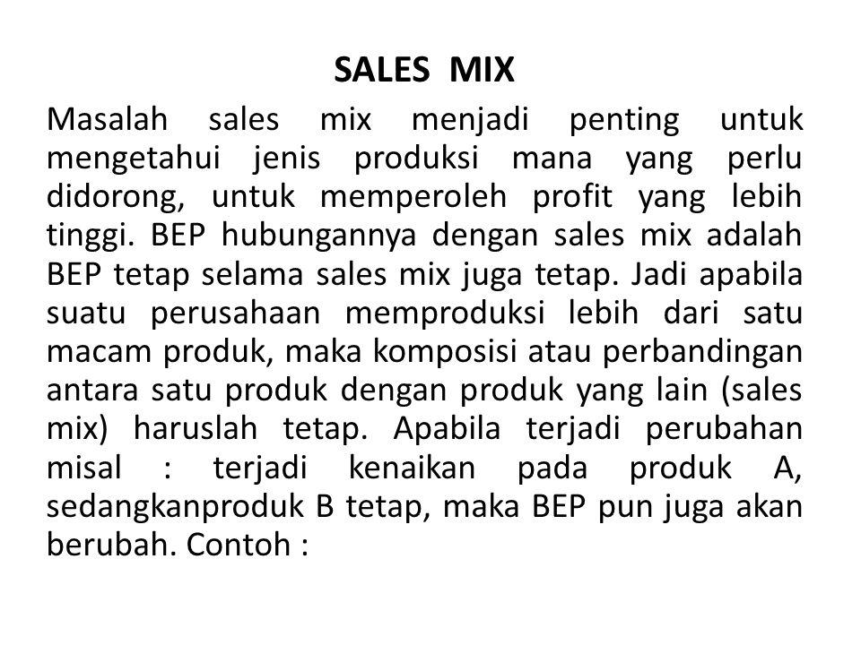 SALES MIX Masalah sales mix menjadi penting untuk mengetahui jenis produksi mana yang perlu didorong, untuk memperoleh profit yang lebih tinggi.