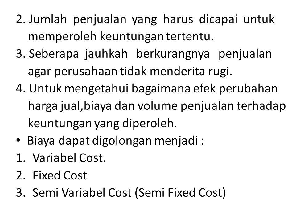 2.Jumlah penjualan yang harus dicapai untuk memperoleh keuntungan tertentu.