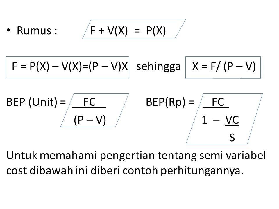 Rumus :F + V(X) = P(X) F = P(X) – V(X)=(P – V)X sehingga X = F/ (P – V) BEP (Unit) = FC BEP(Rp) = FC (P – V)1 – VC S Untuk memahami pengertian tentang semi variabel cost dibawah ini diberi contoh perhitungannya.
