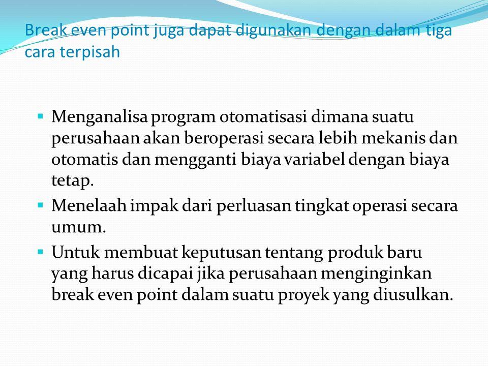 Break even point juga dapat digunakan dengan dalam tiga cara terpisah  Menganalisa program otomatisasi dimana suatu perusahaan akan beroperasi secara