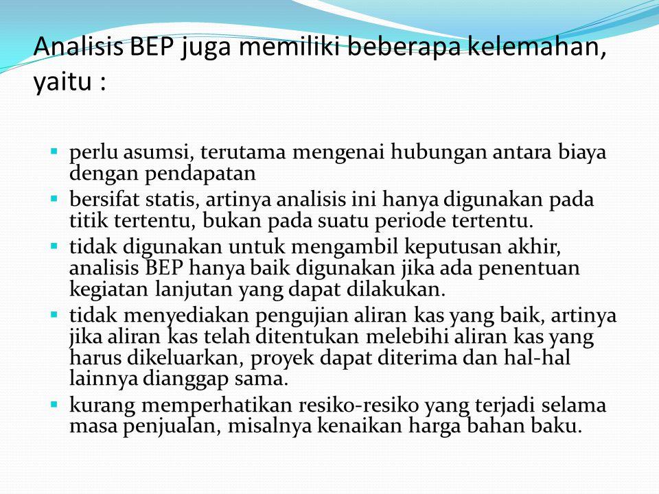 Analisis BEP juga memiliki beberapa kelemahan, yaitu :  perlu asumsi, terutama mengenai hubungan antara biaya dengan pendapatan  bersifat statis, ar