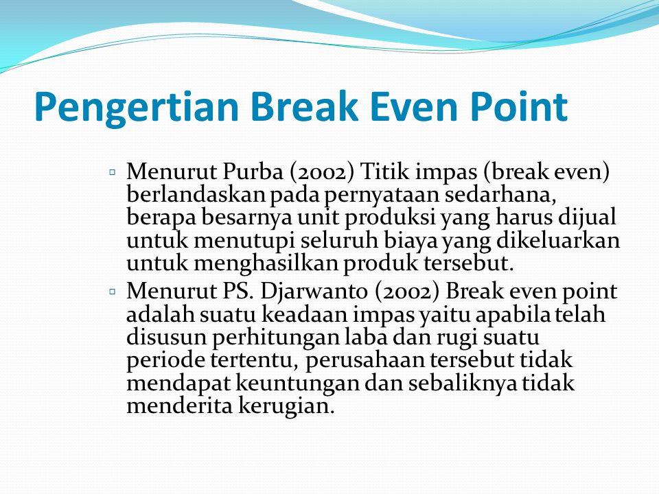 Pengertian Break Even Point  Menurut Purba (2002) Titik impas (break even) berlandaskan pada pernyataan sedarhana, berapa besarnya unit produksi yang