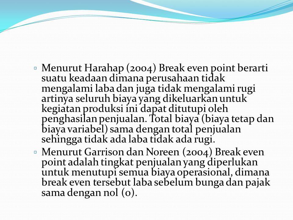  Menurut Harahap (2004) Break even point berarti suatu keadaan dimana perusahaan tidak mengalami laba dan juga tidak mengalami rugi artinya seluruh b