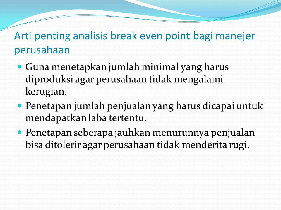 Arti penting analisis break even point bagi manejer perusahaan Guna menetapkan jumlah minimal yang harus diproduksi agar perusahaan tidak mengalami ke