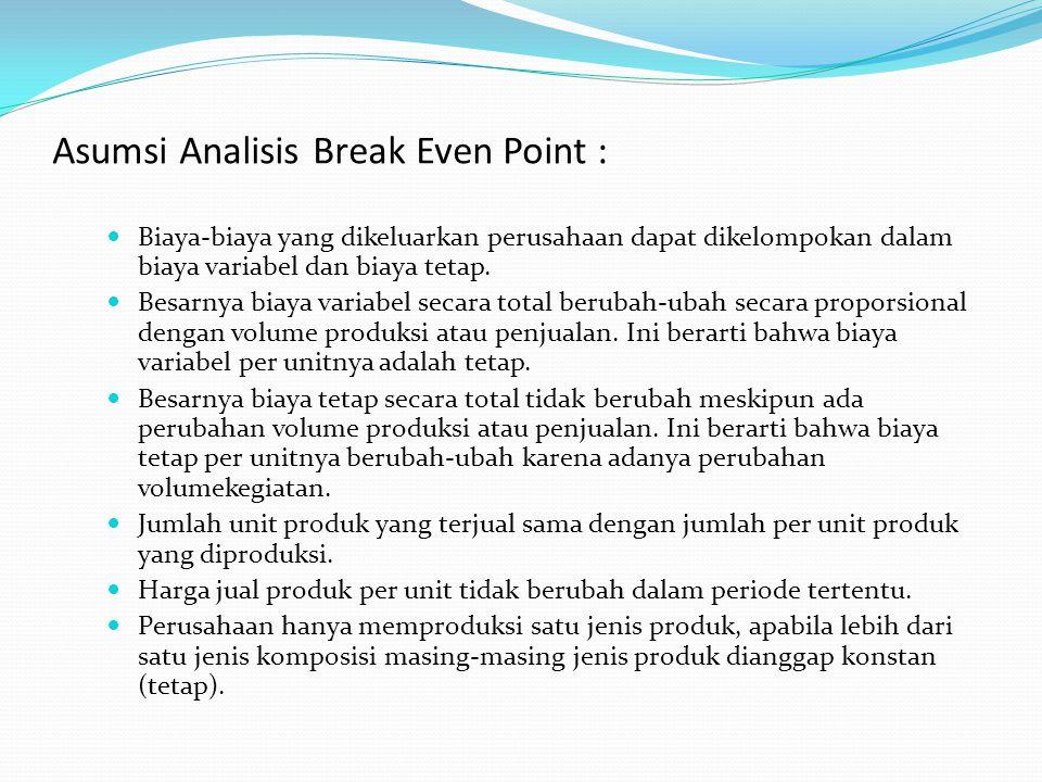 Asumsi Analisis Break Even Point : Biaya-biaya yang dikeluarkan perusahaan dapat dikelompokan dalam biaya variabel dan biaya tetap. Besarnya biaya var