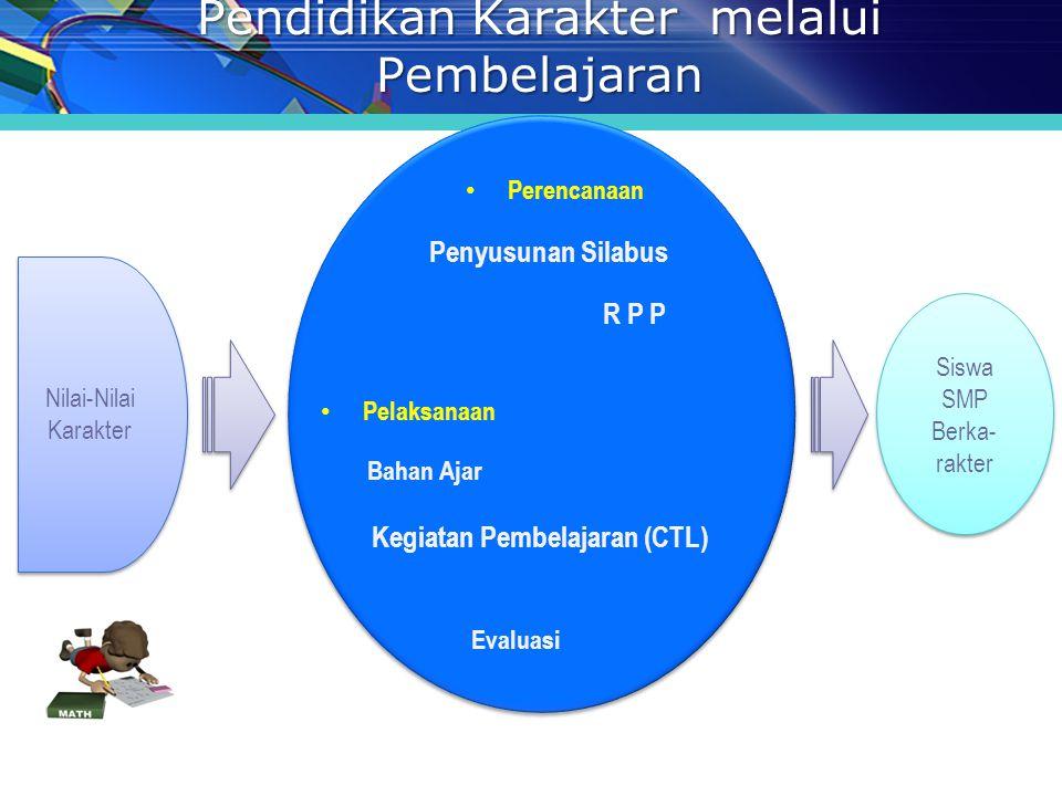 Pendidikan Karakter melalui Pembelajaran Nilai-Nilai Karakter Siswa SMP Berka- rakter Siswa SMP Berka- rakter Perencanaan Penyusunan Silabus R P P Bahan Ajar Pelaksanaan Kegiatan Pembelajaran (CTL) Evaluasi