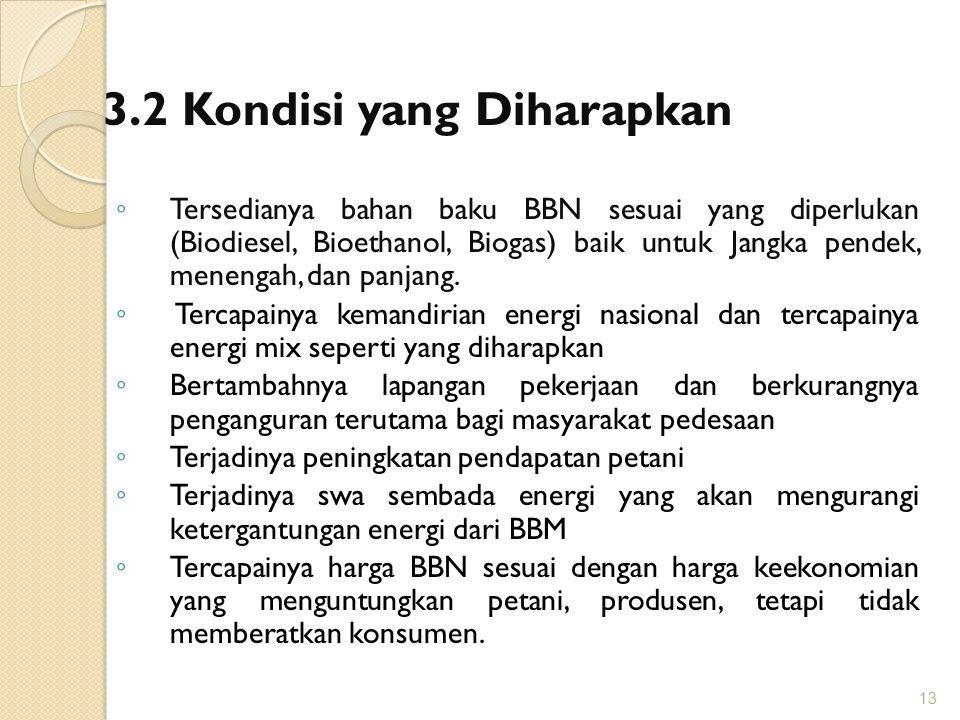 3.2 Kondisi yang Diharapkan ◦ Tersedianya bahan baku BBN sesuai yang diperlukan (Biodiesel, Bioethanol, Biogas) baik untuk Jangka pendek, menengah, da