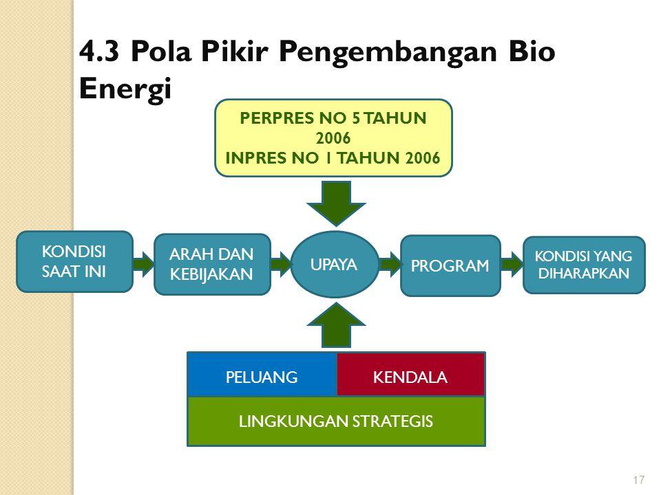 4.3 Pola Pikir Pengembangan Bio Energi PERPRES NO 5 TAHUN 2006 INPRES NO 1 TAHUN 2006 KONDISI SAAT INI ARAH DAN KEBIJAKAN PROGRAM KONDISI YANG DIHARAP