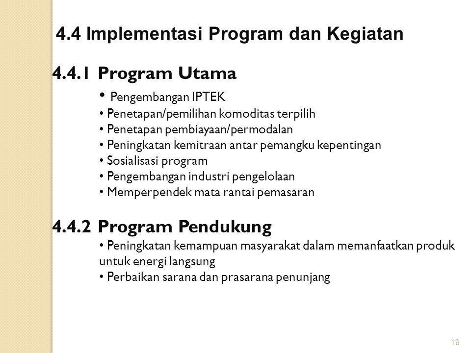 4.4 Implementasi Program dan Kegiatan 4.4.1 Program Utama Pengembangan IPTEK Penetapan/pemilihan komoditas terpilih Penetapan pembiayaan/permodalan Pe